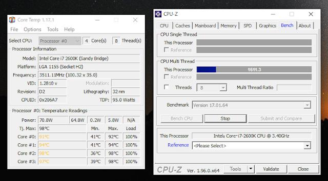 CPU-ZでCPU使用率100%時の温度