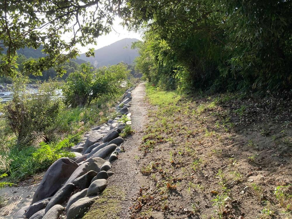 ひするまキャンプ場 川沿いの道
