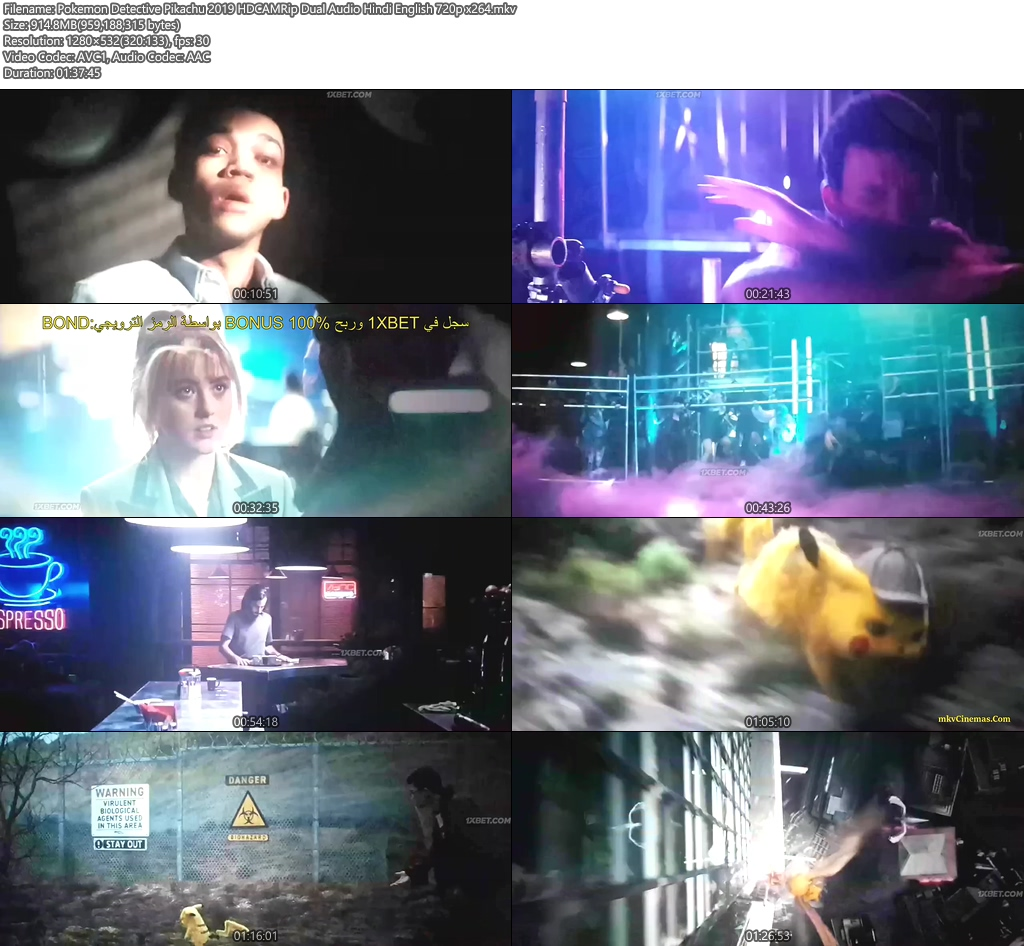 Pokemon Detective Pikachu 2019 HDCAMRip Dual Audio Hindi English 720p x264 | 480p 300MB | 100MB HEVC Screenshot