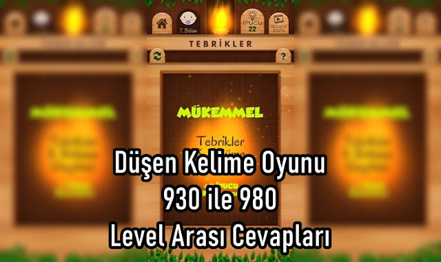 Düşen Kelime Oyunu 930 ile 980 Level Arasi Cevaplari