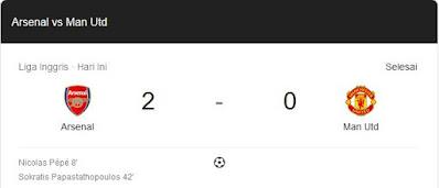 skor akhir pertandingan arsenal vs manchester united