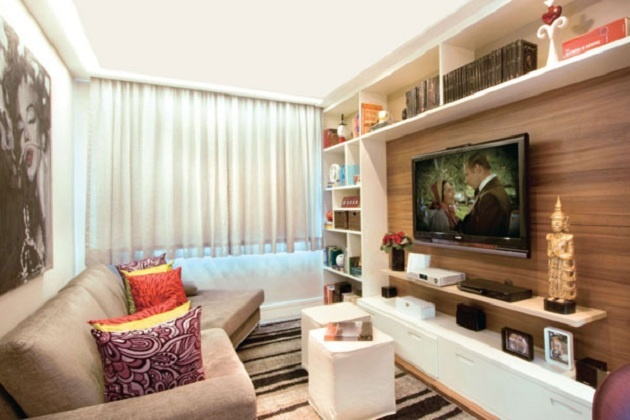 Salas com tv jeito de casa blog de decora o for Sala de estar grande e simples