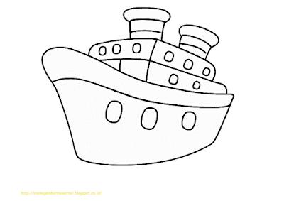 Mewarnai Gambar Kapal Laut - 17