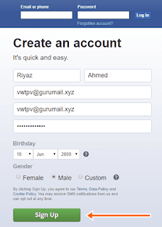 now select your gender for facebook account