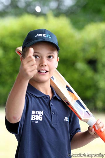 Geordie Calder, 11, Havelock North, won the ANZ competition to walk out to McLean Park, Napier, with Black Caps captain Kane Williamson and Bangladesh skipper Mashrafe Mortaza in the opening T20 match on Tuesday next week. photograph