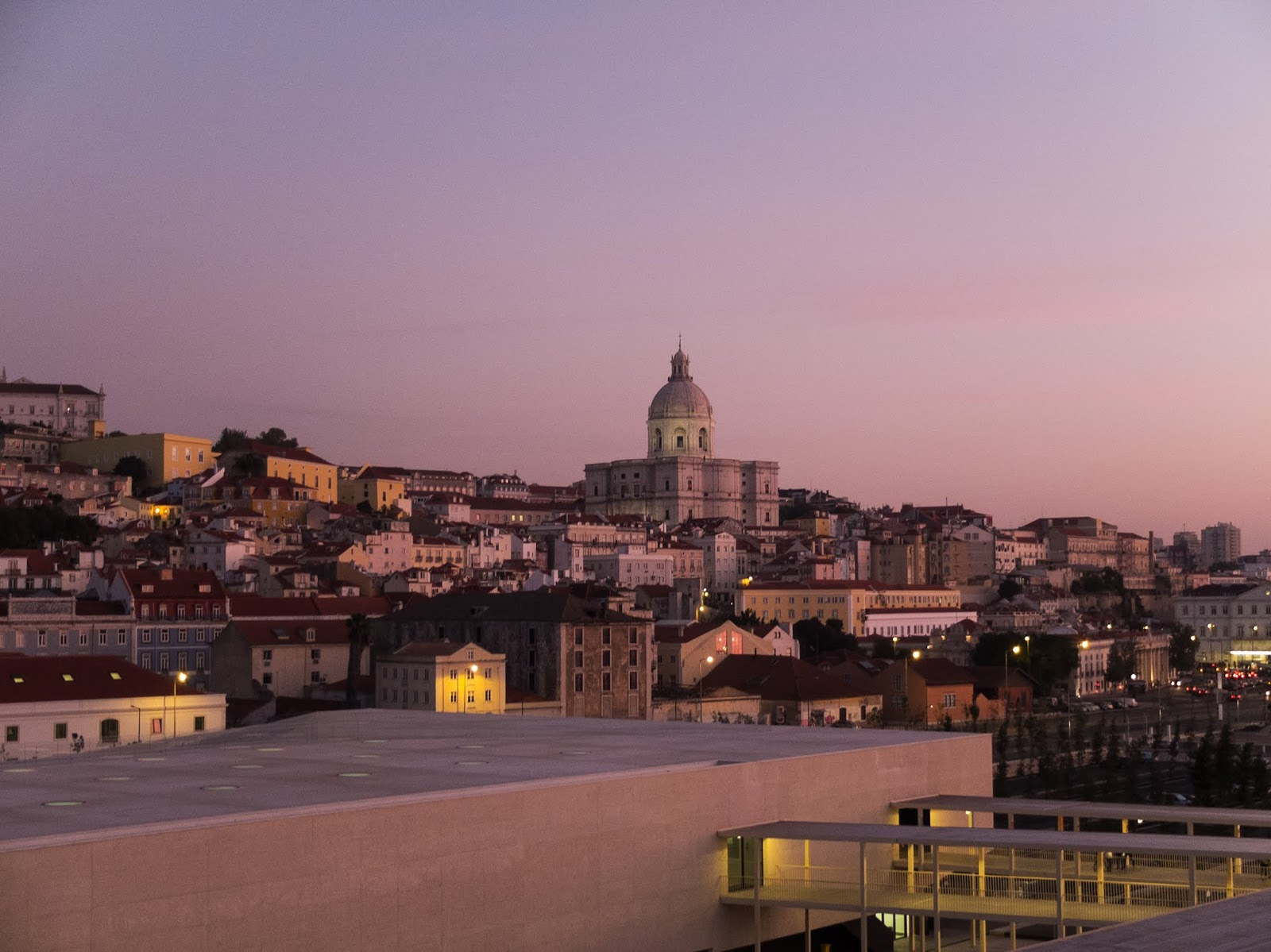 Sunrise in the docklands of Lisbon looking towards the city.