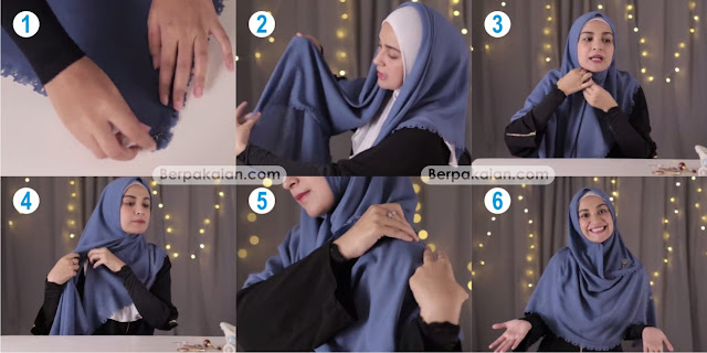 Style Pertama Tutorial Hijab Segi Empat Simpel dan Menutup Dada