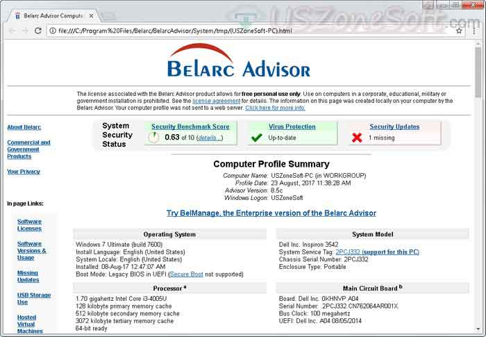 Belarc Advisor- pc audit, Windows Performance Monitor, Software Audit Tool, best PC hardware information checker, software license audit tool, network performance monitoring tools and all system detailed reporter software.