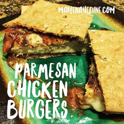 Parmesan chicken burgers, parmesan chicken, healthy food ideas, healthy dinners, clean food that taste good