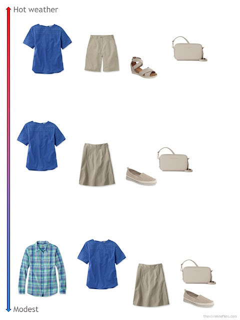 3 ways to style a blue top from a travel capsule wardrobe