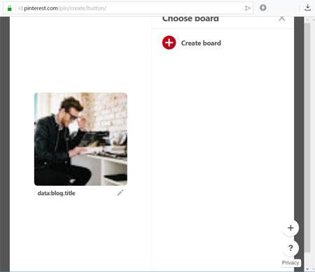 Tombol share Pinterest error