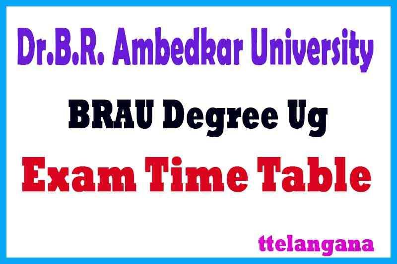 BRAU UG B.A/B.Com/B.Sc/BBM Exam Time Table