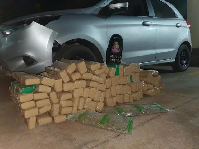 Força Tática da PM apreende 93 tijolos de maconha dentro de carro  -  Adamantina Notìcias