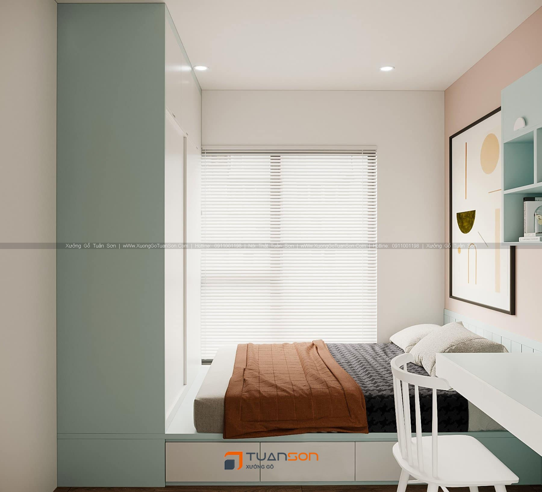 Thiết kế nội thất căn số 2 (3 phòng ngủ) Phương Đông Green Park
