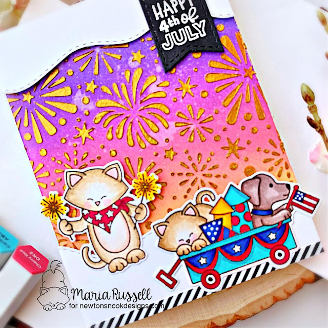 Happy 4th of July Card by Maria Russell | Newton's 4th of July Stamp Set, Fireworks Stencil and Sea Borders Die Set by Newton's Nook Designs #newtonsnook #handmad