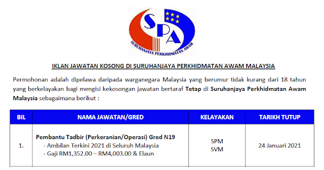 jawatan spa malaysia 2021
