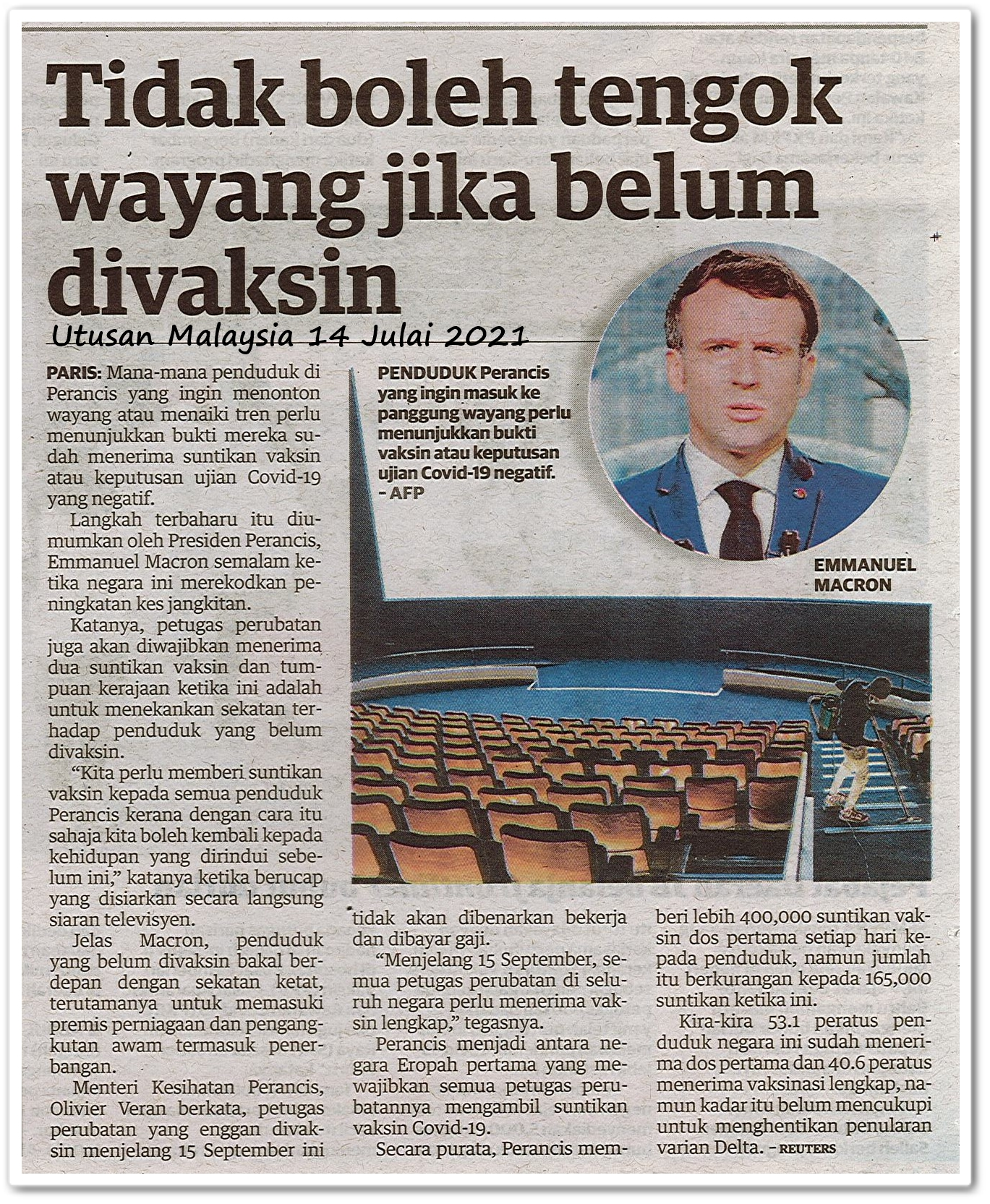 Tidak boleh tengok wayang jika belum divaksin - Keratan akhbar Utusan Malaysia 14 Julai 2021
