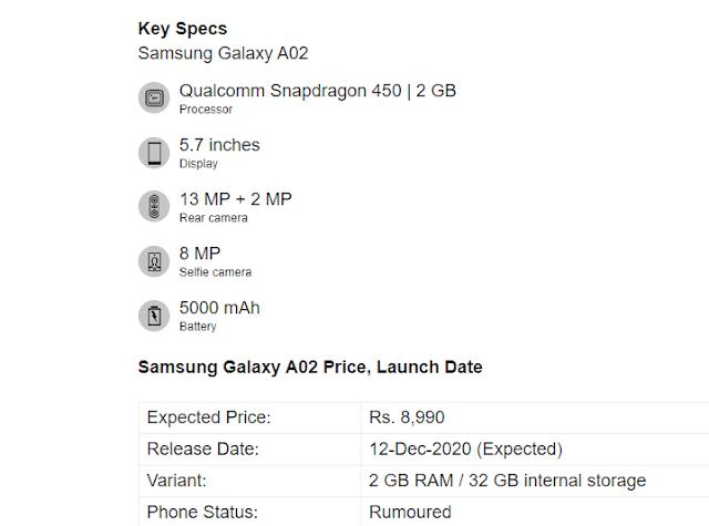 مواصفات موبايل سامسونج Galaxy A02