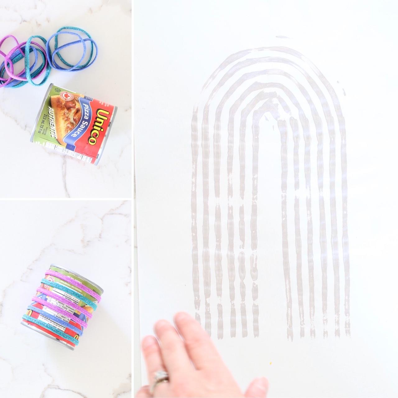 DIY Stamp Paintings Boho Rainbow and Half Moon