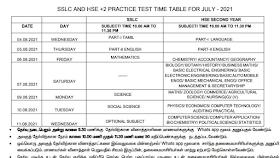 10th, 12th Unit Test Time Table Krishnagiri