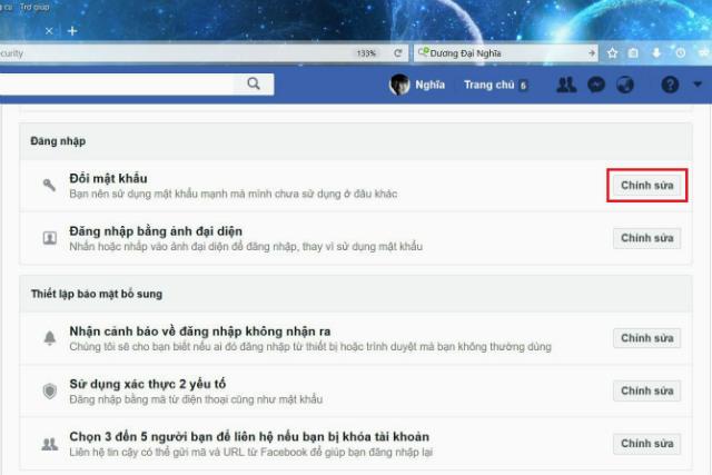Cách đổi mật khẩu facebook trên máy tính 3