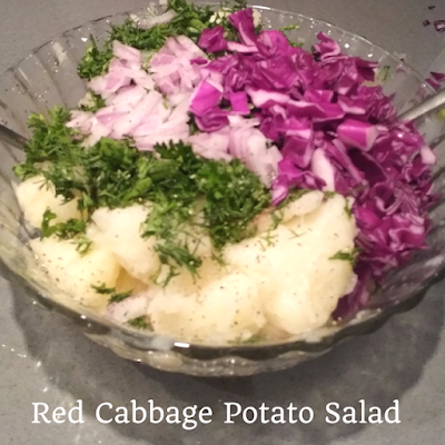 Summer red cabbage and potato salad