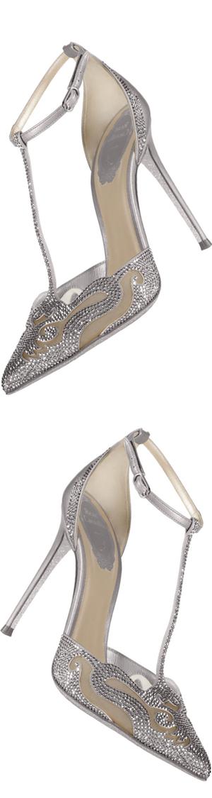 Rene Caovilla Crystal T-Strap Pointed-Toe Pump, Silver