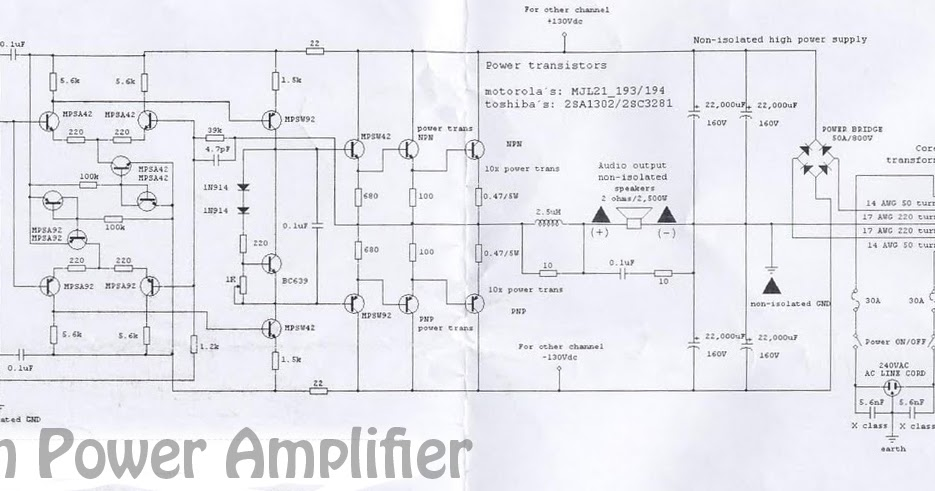 5000 Watts High Power Amplifier Schematic Subwoofer Bass
