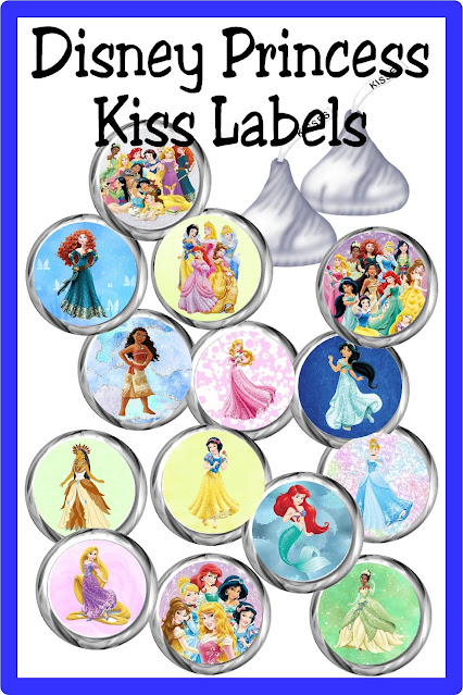 Enjoy these sweet Disney princess kisses at your next princess party with this free printable.  Kiss labels have the 12 princesses as well as group shots for the perfect party favor or party treat.  Let us email you yours today!