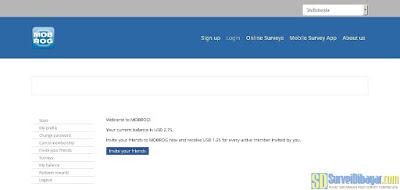 Dasbor akun situs paid survey Mobrog | SurveiDibayar.com