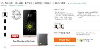 Harga LG G5 SE dan Promo Preorder di Lazada
