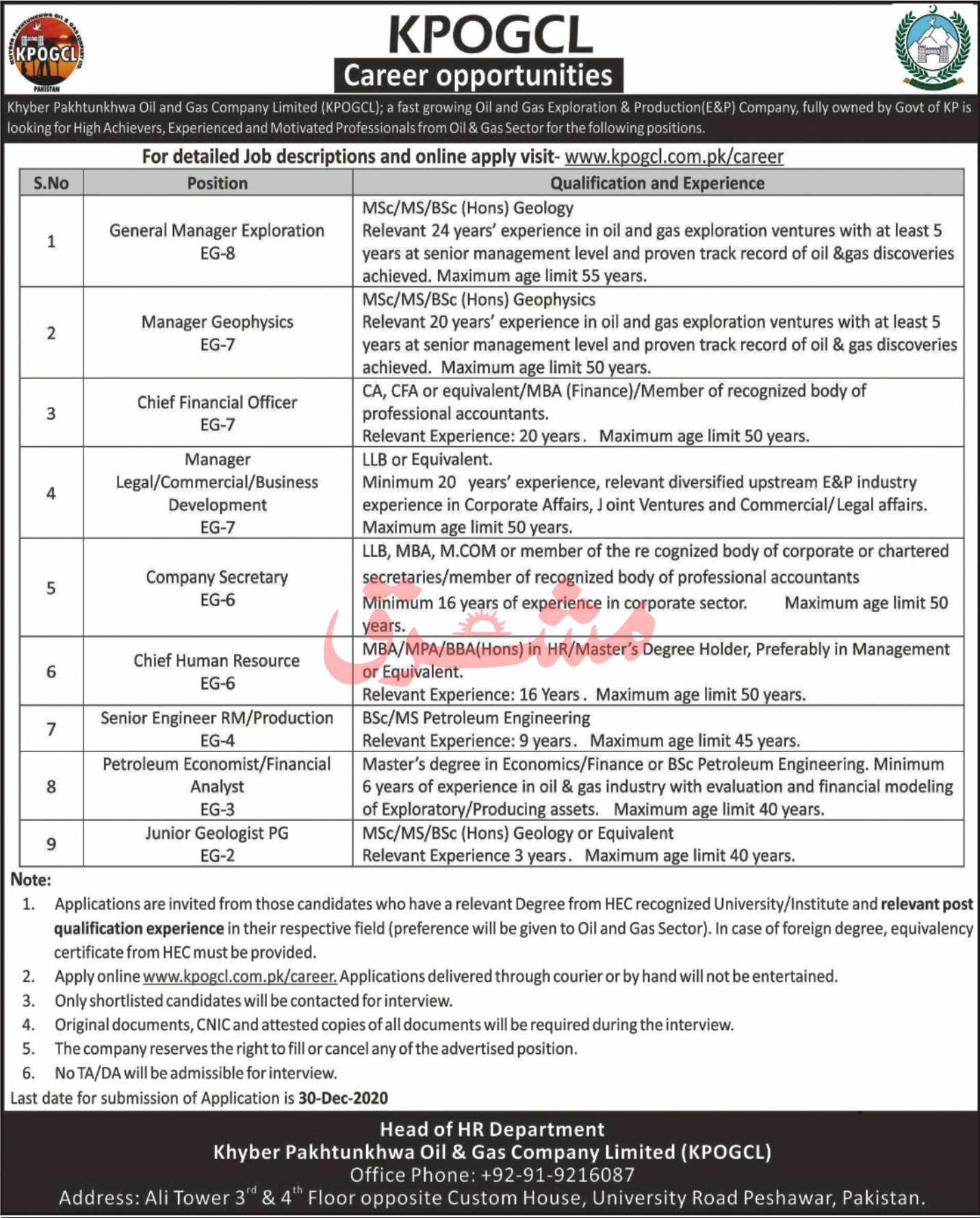 KPOGCL Latest Jobs How to Apply in KPOGCL - Gas Company - Khyber Pakhtunkhwa Oil and Gas Company Limited - www.kpogcl.com.pk/career Latest Jobs 2021