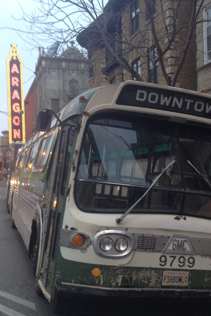 Vintage CTA bus & Aragon Ballroom in Chicago Uptown neighborhood