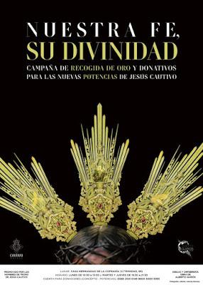Los hombres de trono del Cautivo de Málaga inician una campaña para realizar un nuevo juego de potencias para la imagen del Señor