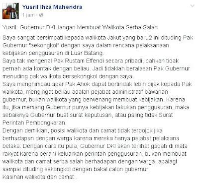Yusril, Gubernur DKI, Walikota Serba Salah, ahok
