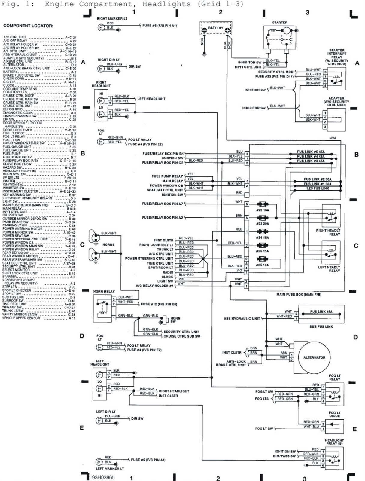 V Manual: 1992 Subaru SVX Engine Compartment, Headlights