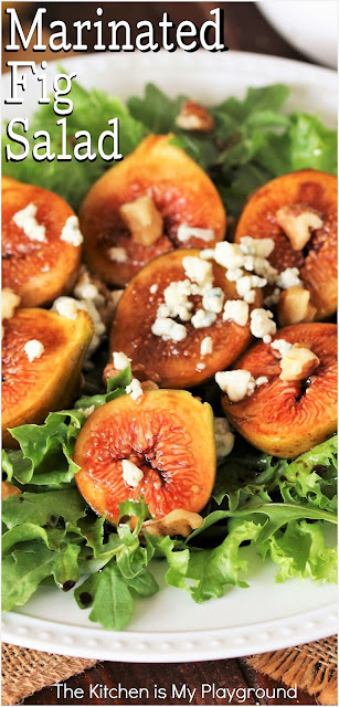 Marinated Fig Salad ~ Enjoy fresh seasonal figs at their best in this super flavorful Marinated Fig Salad! Delightfully sweet figs marinated in balsamic & honey, are beautifully complimented with the savory flavors of arugula, blue cheese, & walnuts. www.thekitchenismyplayground.com