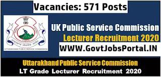 UKPSC Lecturer Vacancy 2020  Public Service Commission Recruitment