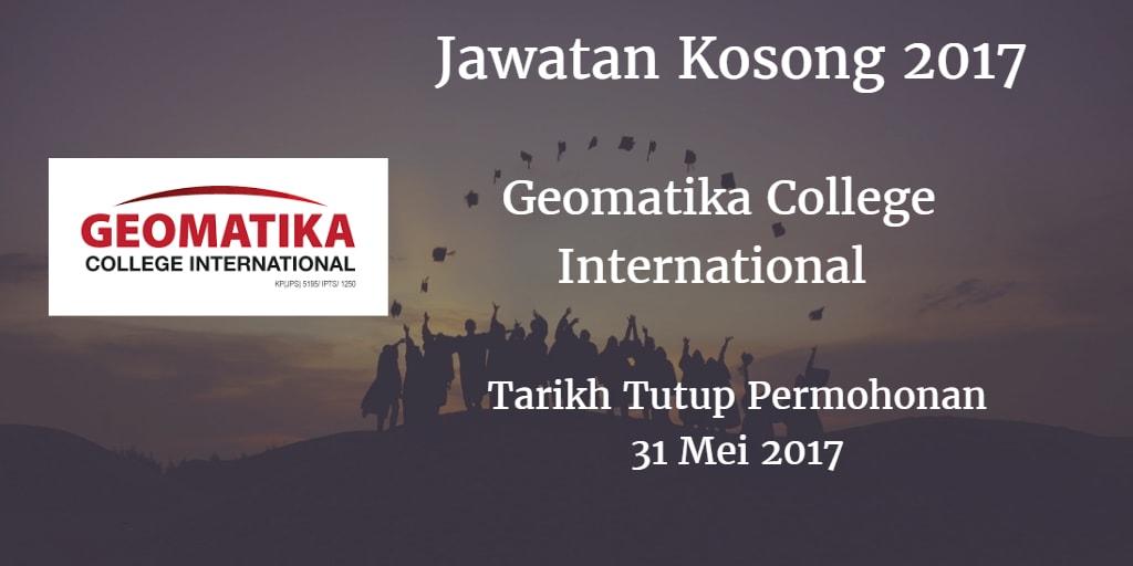 Jawatan Kosong Geomatika College International 31 Mei 2017
