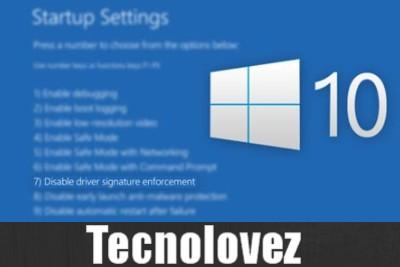 Windows 10 - Come disattivare verifica firma digitale driver
