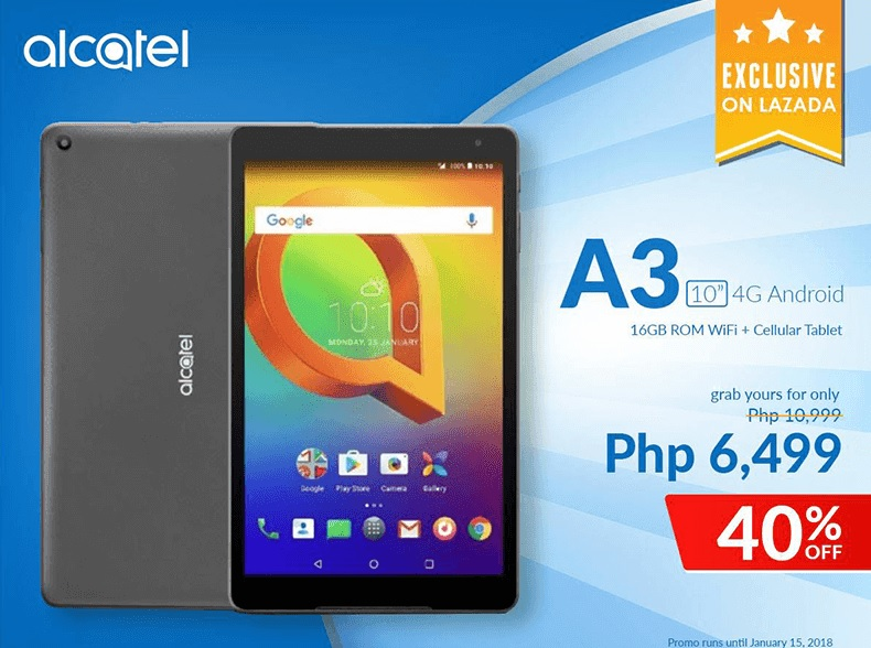 Alcatel A3 10 Arrives at Lazada Philippines for only Php6,499