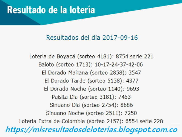 Como jugo la lotería anoche - Resultados diarios de la lotería y el chance - resultados del dia 16-09-2017