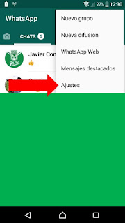 entrar en los ajustes de WhatsApp