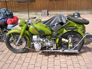a fully restored M-72 motorcycle