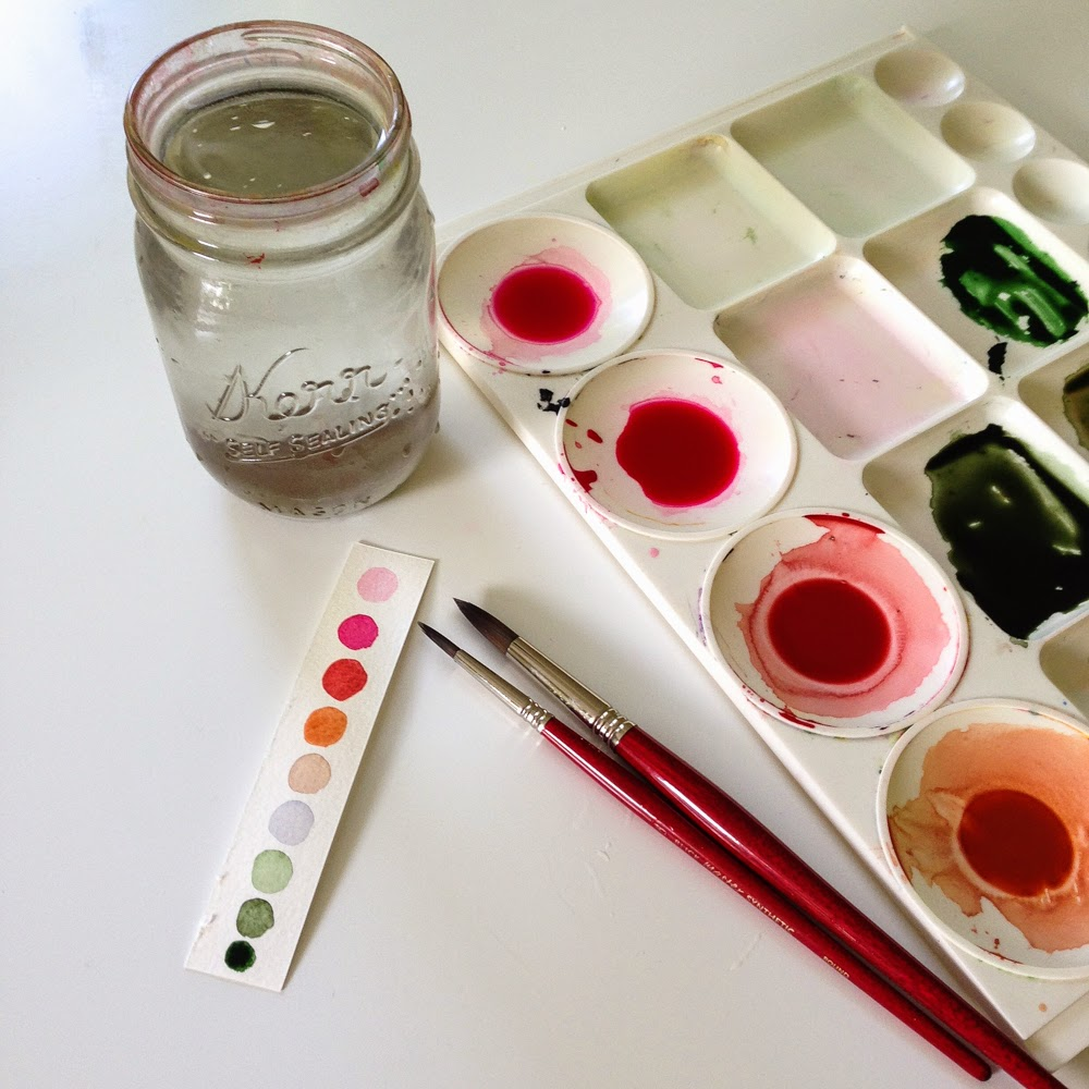 watercolor painting palette and swatches