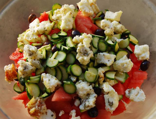 Salade pastèque - feta - courgettes