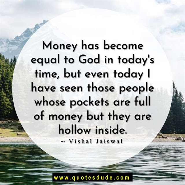A quote image about life and money.