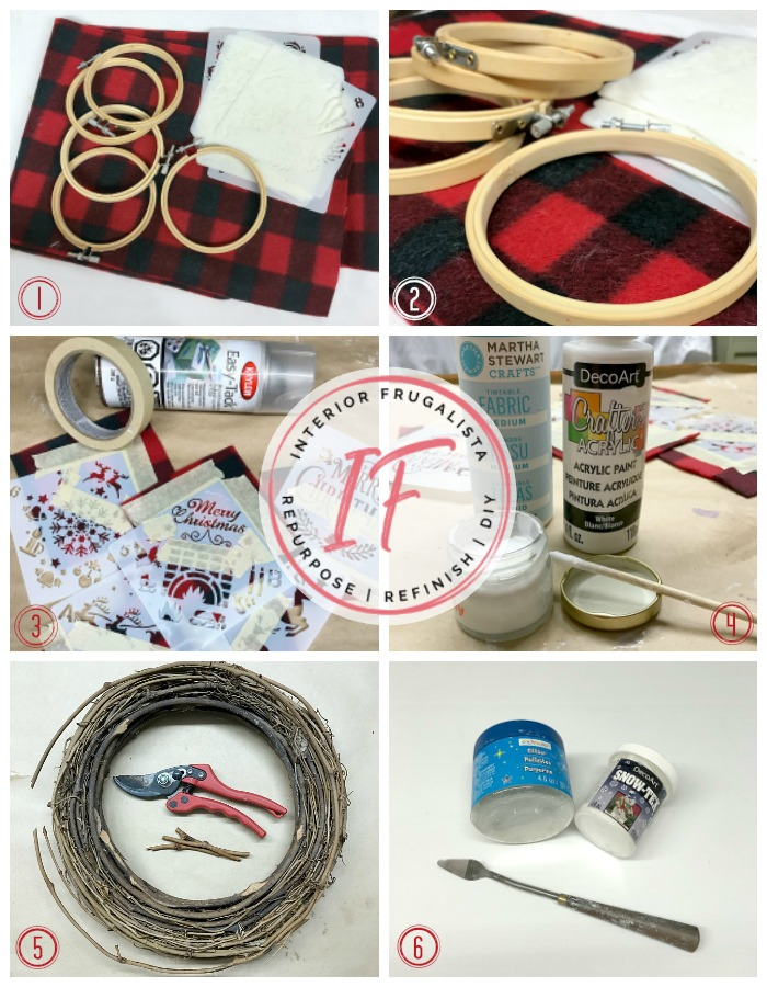 Rustic Snow Capped Buffalo Check Ornaments with a recycled dollar store plaid fleece scarf and small embroidery hoops, budget DIY Christmas decor Idea