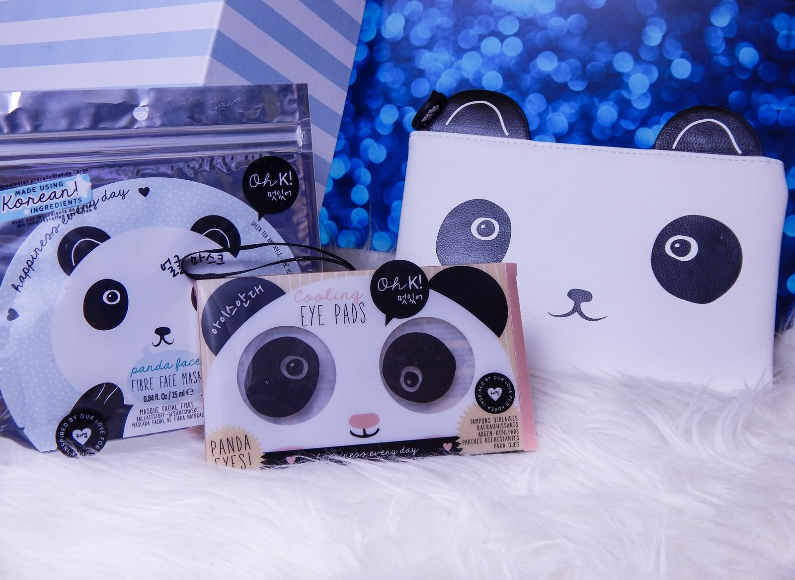 1 Oh! K Life koreańskie kosmetyki i gadżety słodkie dziewczęce dodatki maska do twarzy panda kosmetyczka w kształcie pandy lodowe płatki chłodzące okłady na oczy przeciw sińcom jak pozbyć się sińców pod oczami