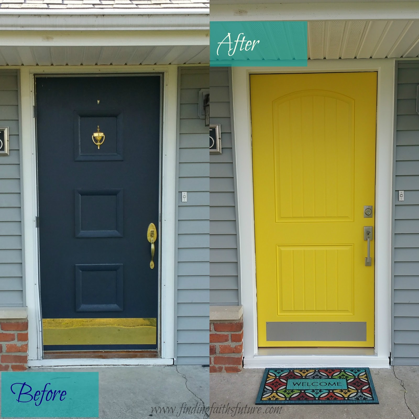 Diy Front Door Before And After Makeover Finding Faiths Future